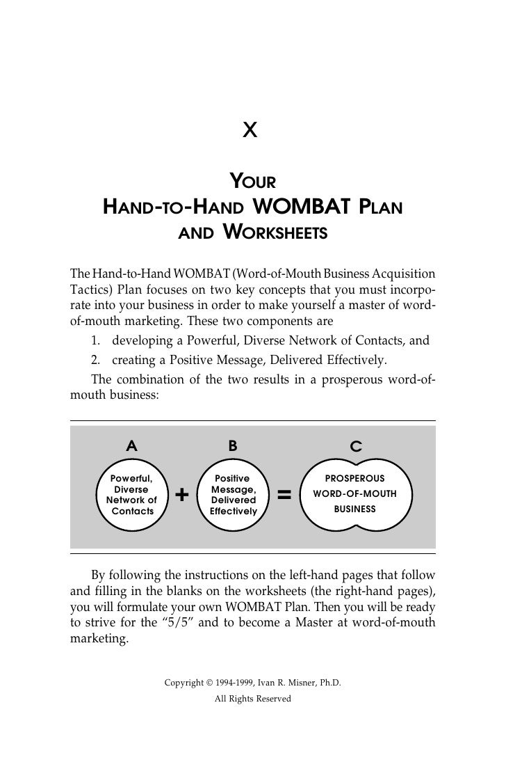 x                 YOUR      HAND-TO-HAND WOMBAT PLAN             AND WORKSHEETS  The Hand-to-Hand WOMBAT (Word-of-Mouth Bu...