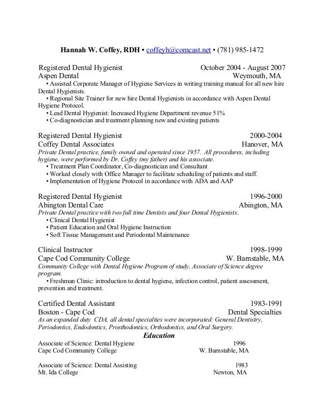 hannah w coffey resume 2009 - Dental Hygienist Resume