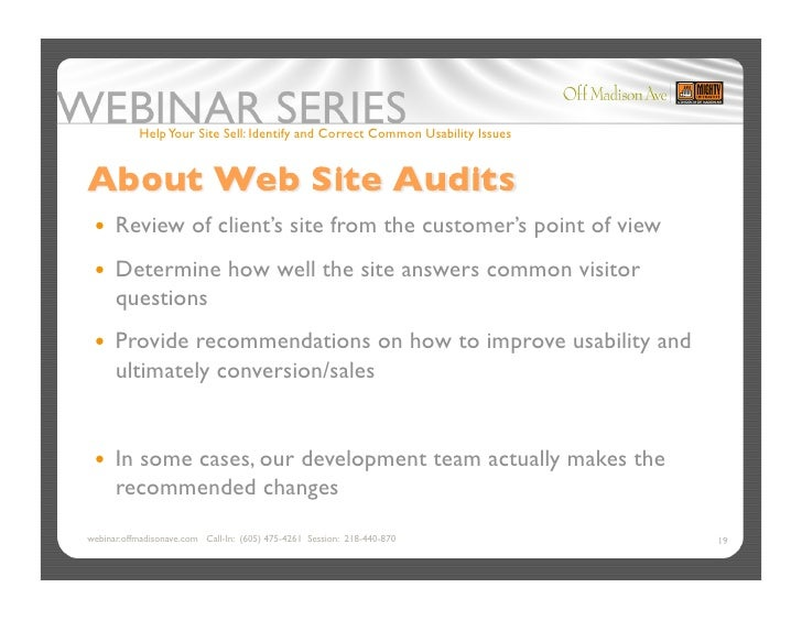 Help Your Site Sell: Identify and Correct Common Usability Issues       Review             of client's site from the cus...