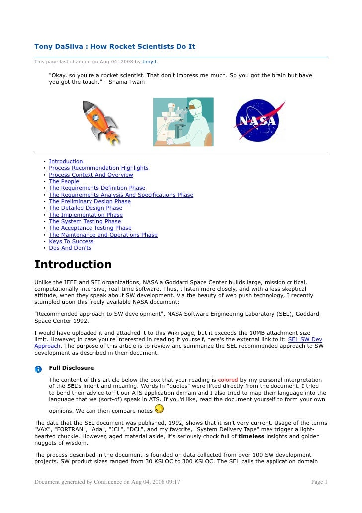 Tony DaSilva : How Rocket Scientists Do It  This page last changed on Aug 04, 2008 by tonyd.         quot;Okay, so you're ...