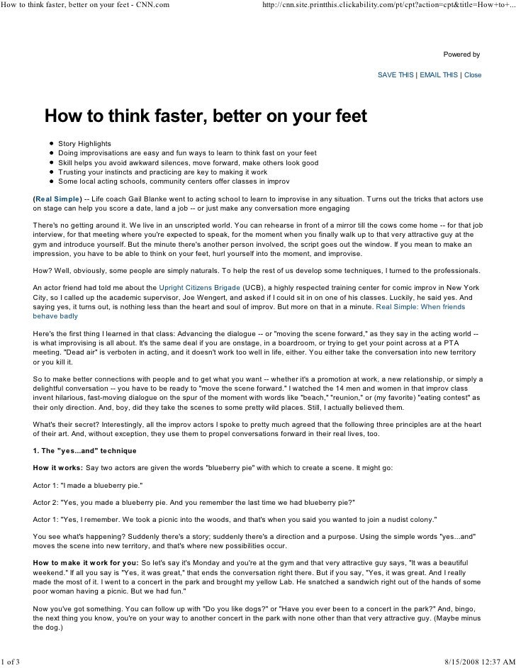 How to think faster, better on your feet - CNN.com                               http://cnn.site.printthis.clickability.co...