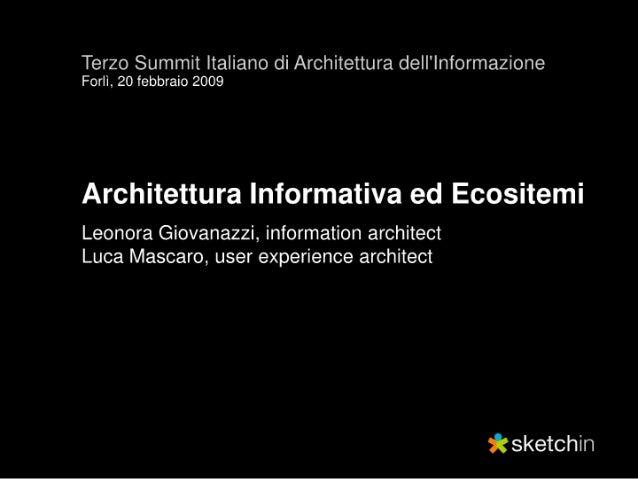 Architettura Informativa ed Ecosistemi