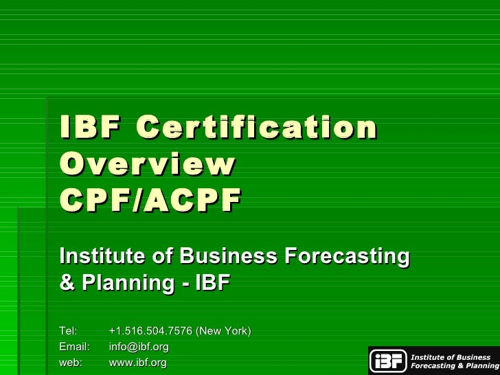 institute of business forecasting and planning