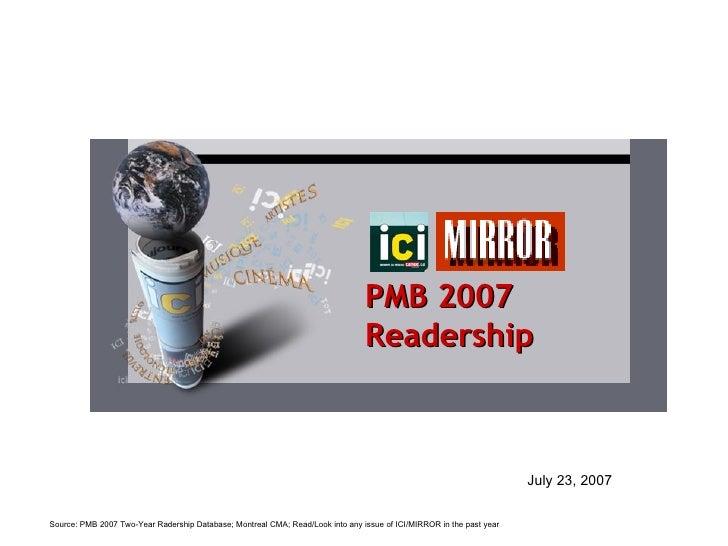 PMB 2007   Readership July 23, 2007