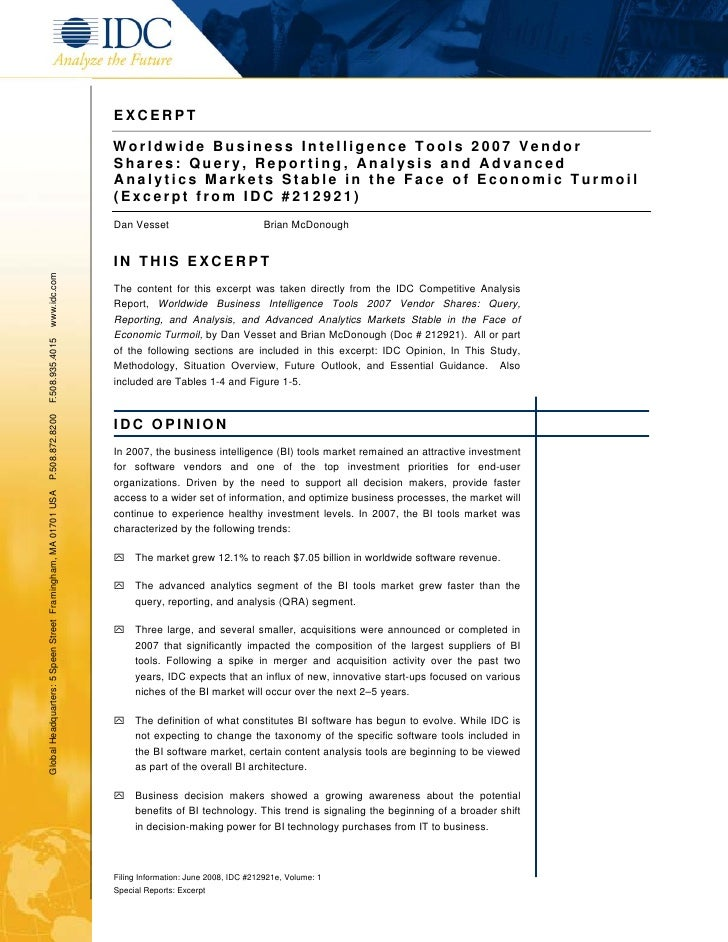 EXCERPT                                                                 Worldwide Business Intelligence Tools 2007 Vendor ...