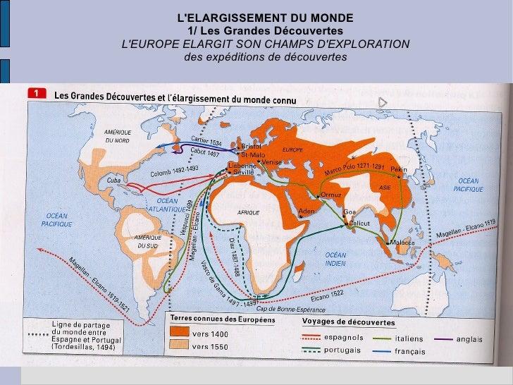 L'ELARGISSEMENT DU MONDE 1/ Les Grandes Découvertes L'EUROPE ELARGIT SON CHAMPS D'EXPLORATION des expéditions de découvertes