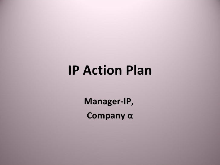 IP Action Plan Manager-IP,  Company α