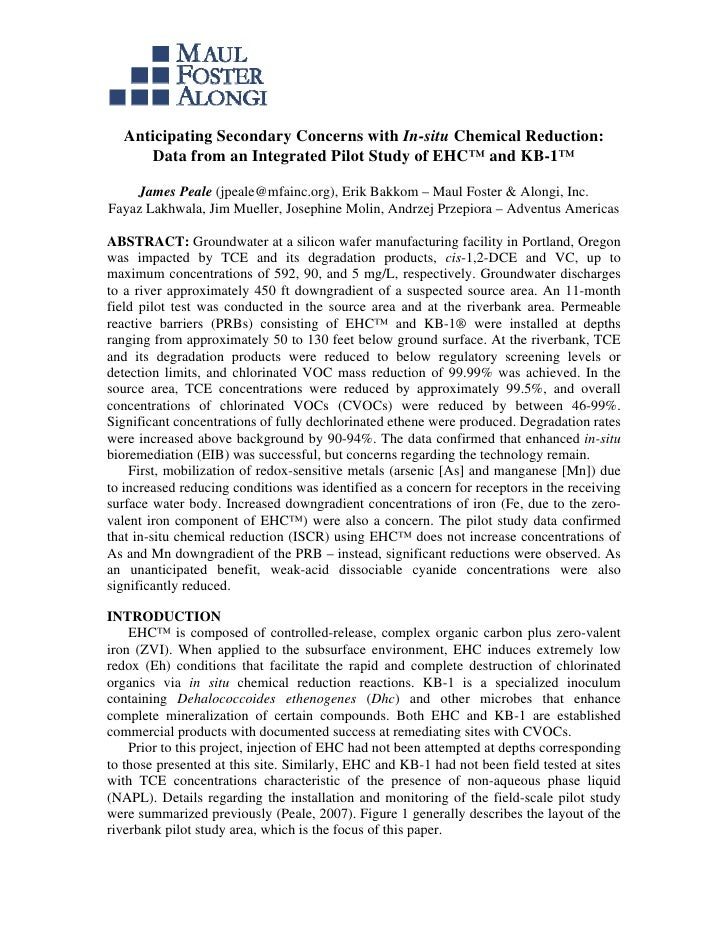 Anticipating Secondary Concerns with In-situ Chemical Reduction:      Data from an Integrated Pilot Study of EHC™ and KB-1...