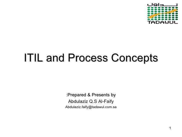 ITIL and Process Concepts Prepared & Presents by: Abdulaziz Q.S Al-Faify [email_address]