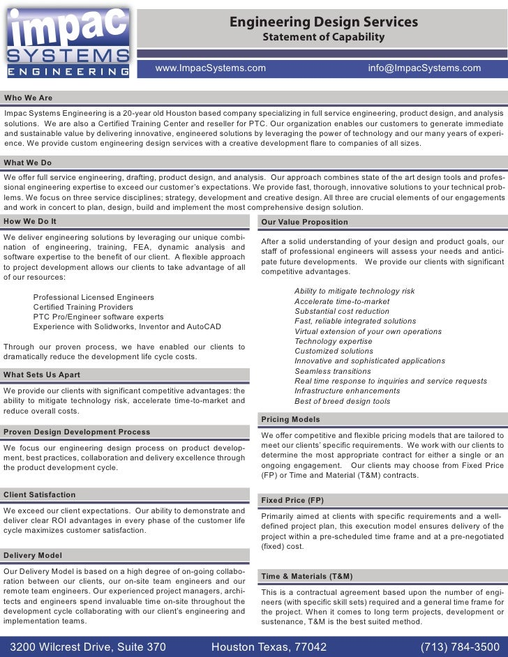 Engineering Design Services                                                                        Statement of Capability...