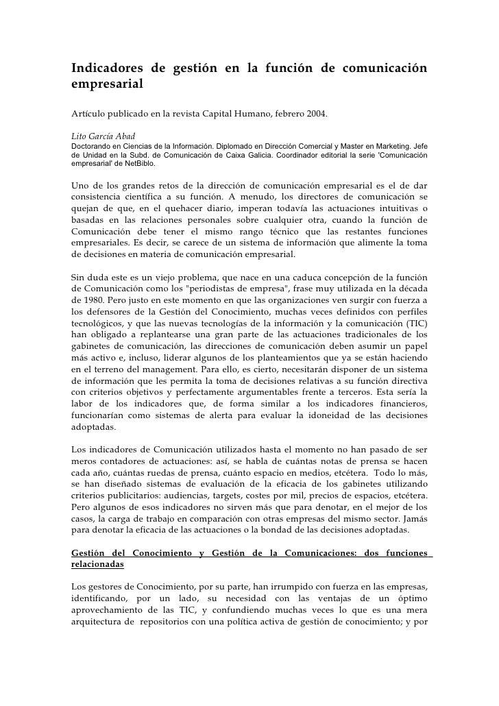 Indicadores de gestión en la función de comunicación empresarial  Artículo publicado en la revista Capital Humano, febrero...