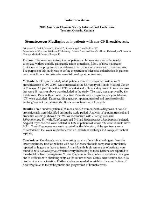 Poster Presentation 2008 American Thoracic Society International Conference Toronto, Ontario, Canada Stomatococcus Mucilag...