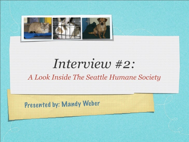 Interview #2:  A Look Inside The Seattle Humane Society    Pres en te d by: M a n d y Web er