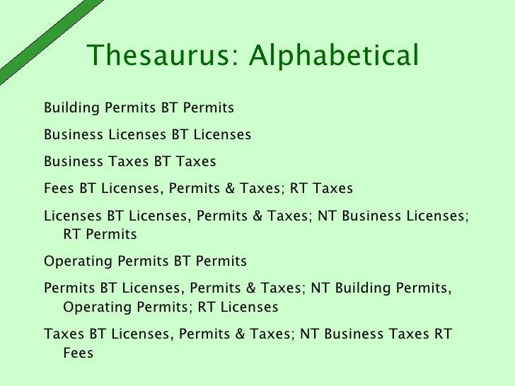 thesaurus industry plan