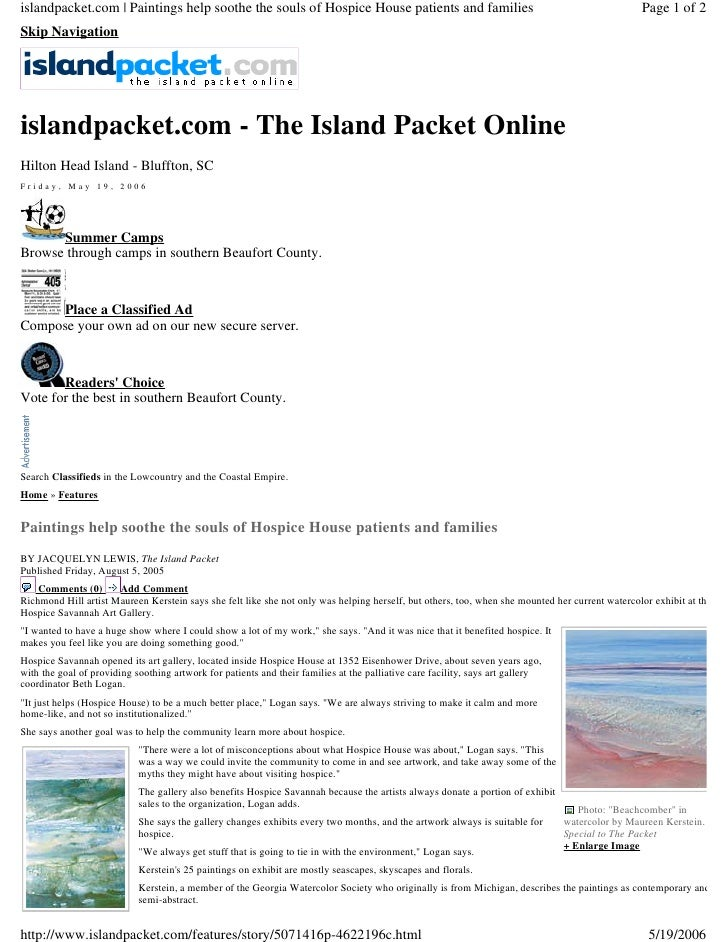 islandpacket.com | Paintings help soothe the souls of Hospice House patients and families                                 ...