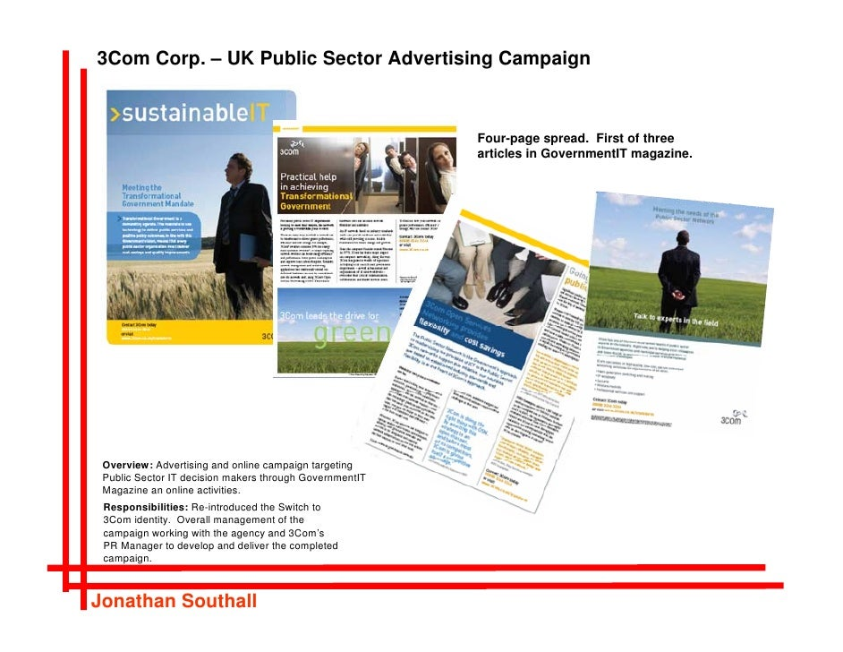 3Com Corp. – UK Public Sector Advertising Campaign                                                             Four-page s...