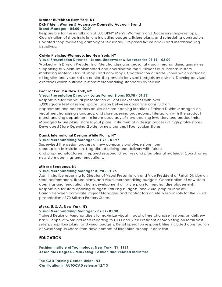 fashion marketing resume