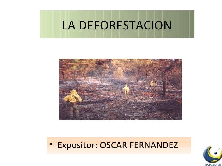 LA DEFORESTACION <ul><li>Expositor: OSCAR FERNANDEZ </li></ul>