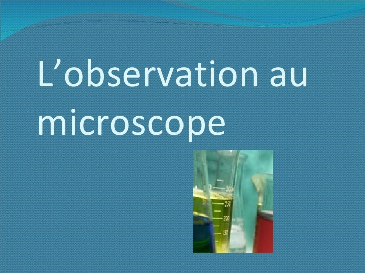 L'observation au   microscope