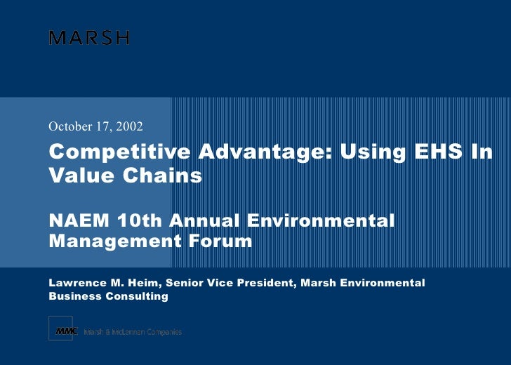Competitive Advantage: Using EHS In Value Chains NAEM 10th Annual Environmental Management Forum October 17, 2002 Lawrence...