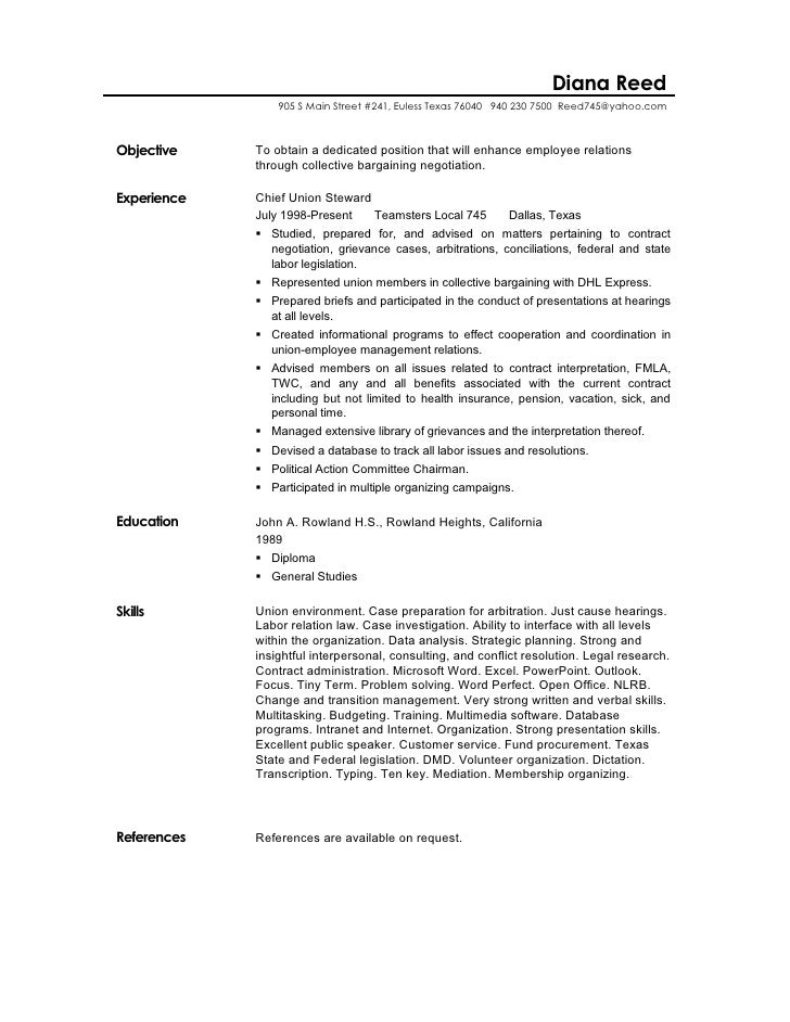 labor relation resume