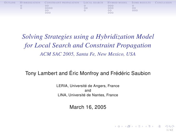 OUTLINE   HYBRIDIZATION   CONSTRAINT PROPAGATION   LOCAL SEARCH   HYBRID MODEL   SOME RESULTS   CONCLUSION                ...