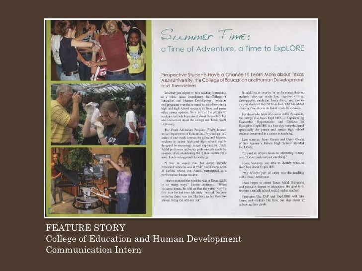 FEATURE STORY College of Education and Human Development Communication Intern