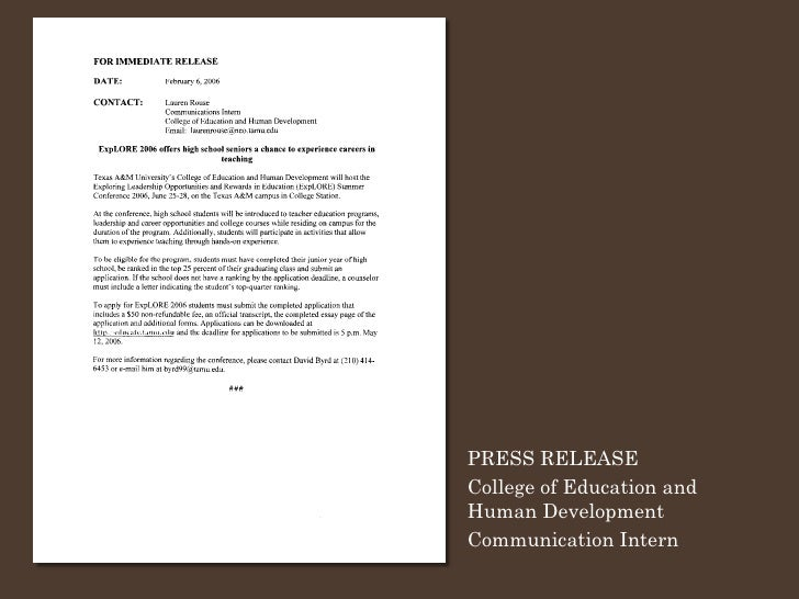 PRESS RELEASE College of Education and Human Development Communication Intern