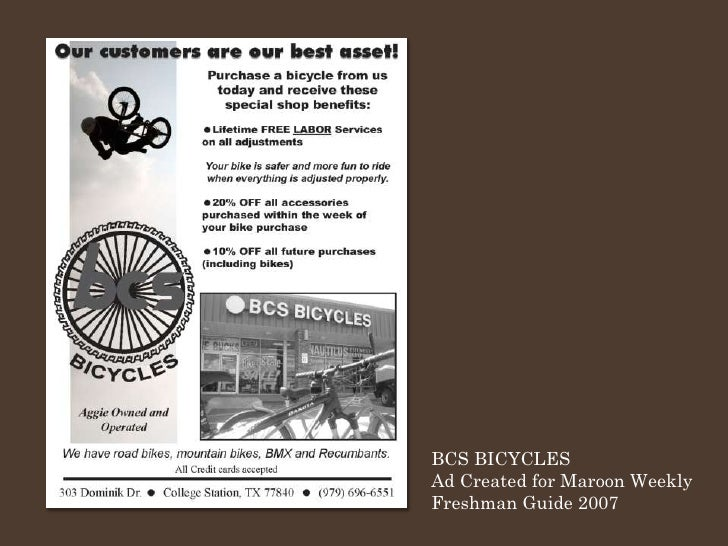 BCS BICYCLES Ad Created for Maroon Weekly Freshman Guide 2007