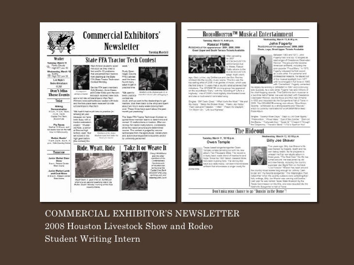 COMMERCIAL EXHIBITOR'S NEWSLETTER 2008 Houston Livestock Show and Rodeo Student Writing Intern