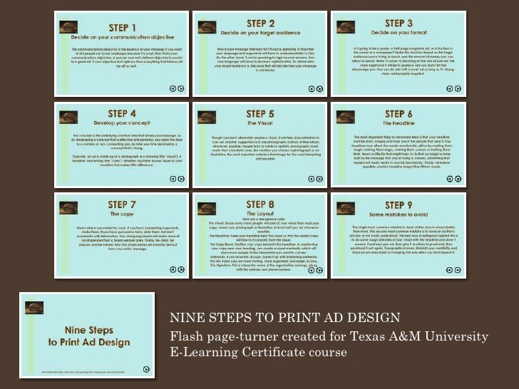 NINE STEPS TO PRINT AD DESIGN Flash page-turner created for Texas A&M University E-Learning Certificate course