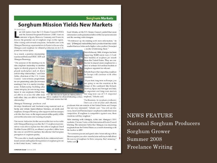 NEWS FEATURE National Sorghum Producers Sorghum Grower Summer 2008 Freelance Writing