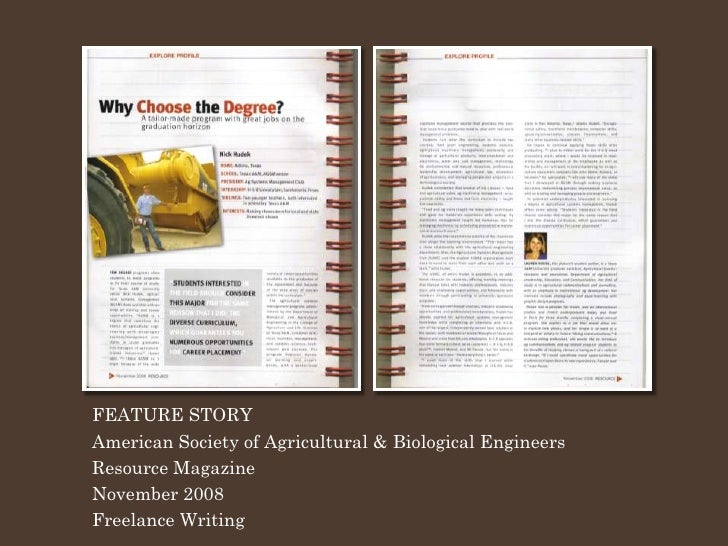 FEATURE STORY American Society of Agricultural & Biological Engineers Resource Magazine November 2008 Freelance Writing