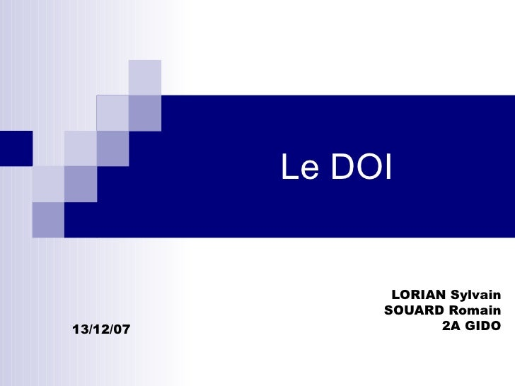 Le DOI LORIAN Sylvain SOUARD Romain 2A GIDO 13/12/07