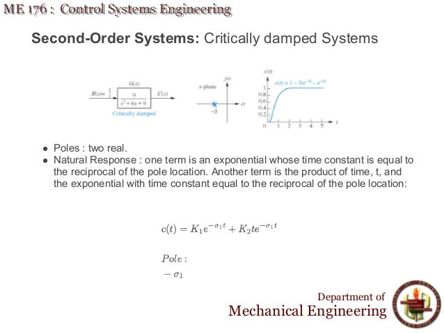 Lecture 6 ME 176 2 Time Response