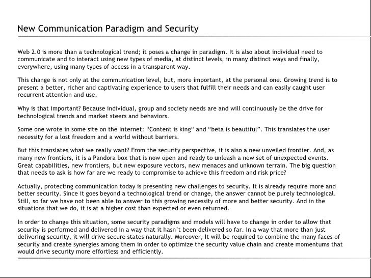 New Communication Paradigm and Security Slide 2