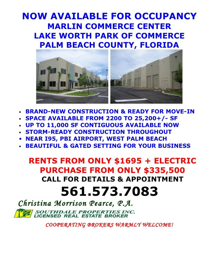 NOW AVAILABLE FOR OCCUPANCY         MARLIN COMMERCE CENTER       LAKE WORTH PARK OF COMMERCE        PALM BEACH COUNTY, FLO...