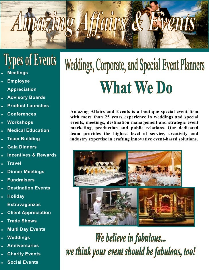 Meetings Employee Appreciation Advisory Boards Product Launches                        Amazing Affairs and Events is a bou...