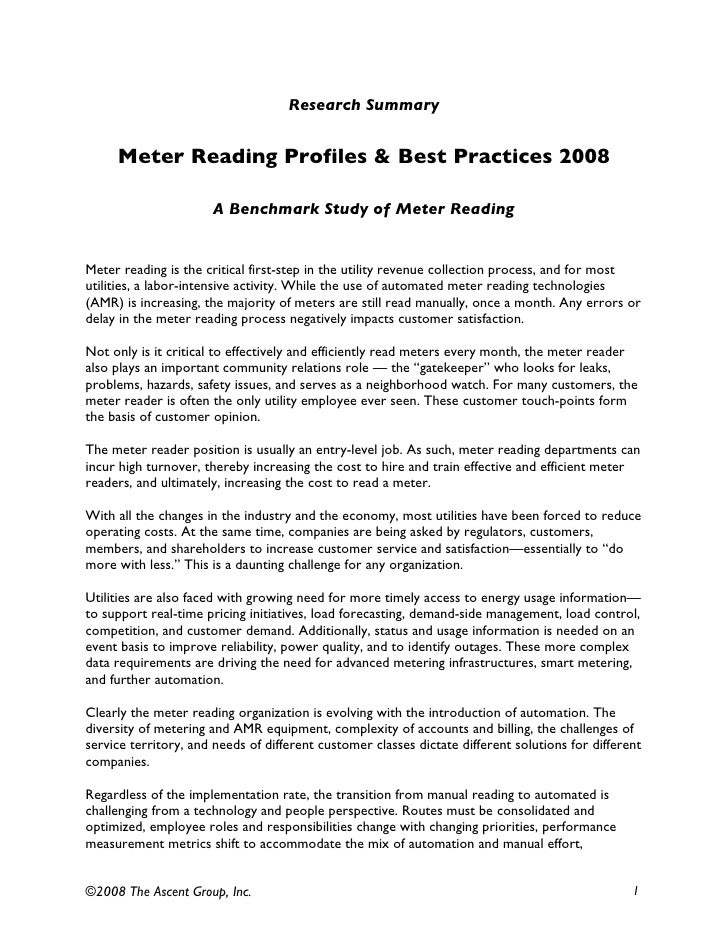 Research Summary        Meter Reading Profiles & Best Practices 2008                        A Benchmark Study of Meter Rea...