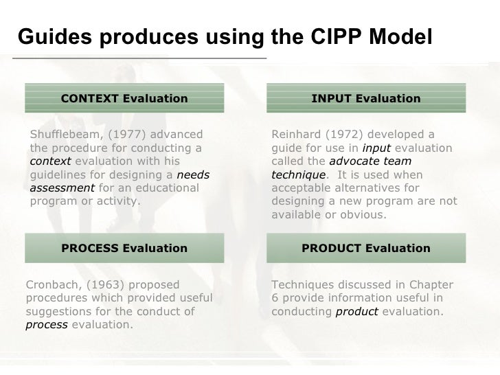 thesis using cipp model Dan stufflebeam:cipp model of program evaluation input context process product needs assessment what should we do program planning how shall we.