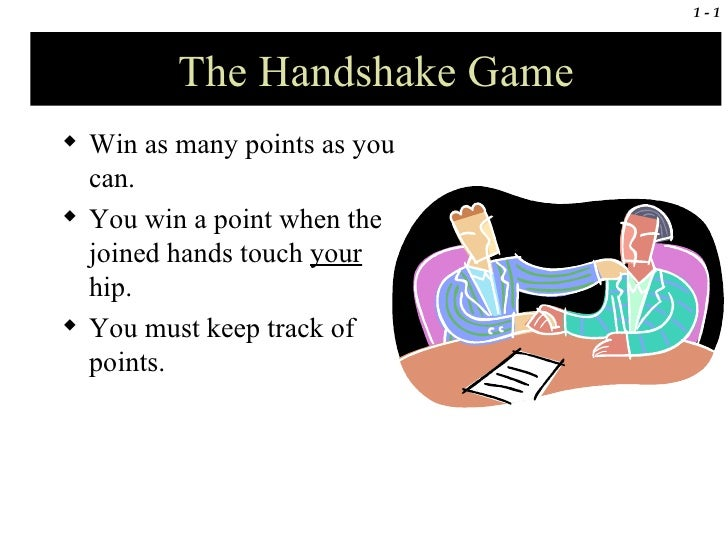 The Handshake Game <ul><li>Win as many points as you can. </li></ul><ul><li>You win a point when the joined hands touch  y...