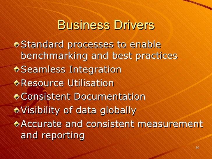 Business Drivers <ul><li>Standard processes to enable benchmarking and best practices </li></ul><ul><li>Seamless Integrati...