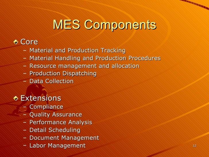 MES Components <ul><li>Core </li></ul><ul><ul><li>Material and Production Tracking  </li></ul></ul><ul><ul><li>Material Ha...