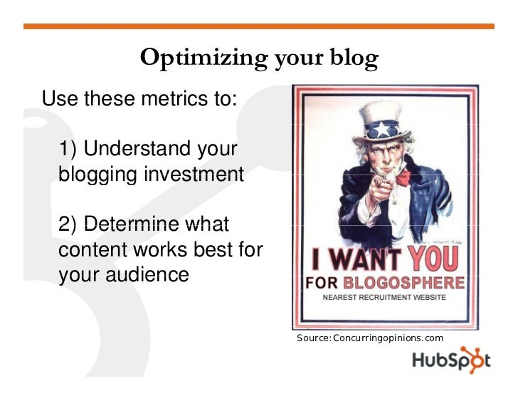 Optimizing your blog Use these metrics to:   1) Understand your  blogging investment   2) Determine what  content works be...