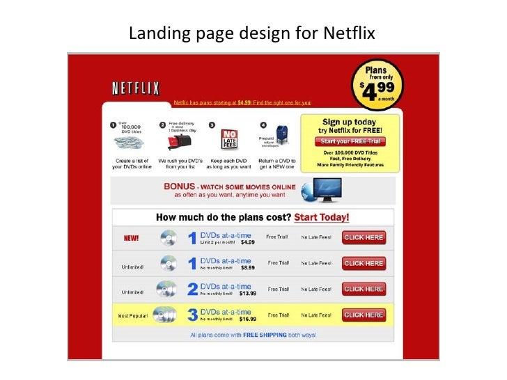 Landing page design for Netflix