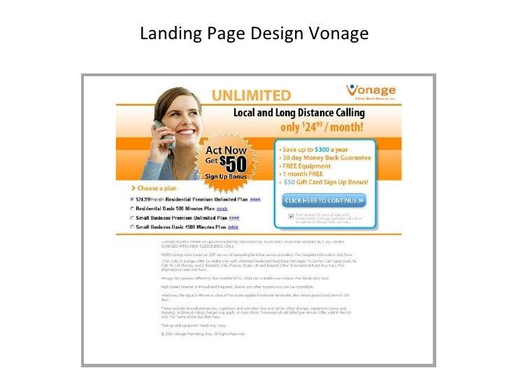 Landing Page Design Vonage