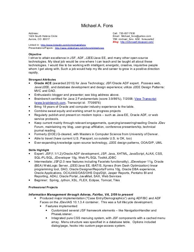 Michael A. Fons Address: Cell: 720-837-7830 1424 South Helena Circle Email: Michael_fons@yahoo.com Aurora, CO 80017 YIM: m...