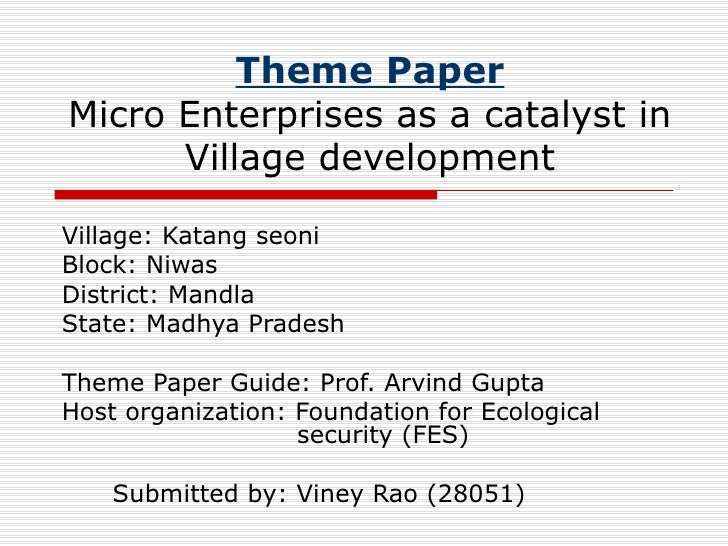 Theme Paper Micro Enterprises as a catalyst in Village development Village: Katang seoni  Block: Niwas District: Mandla St...