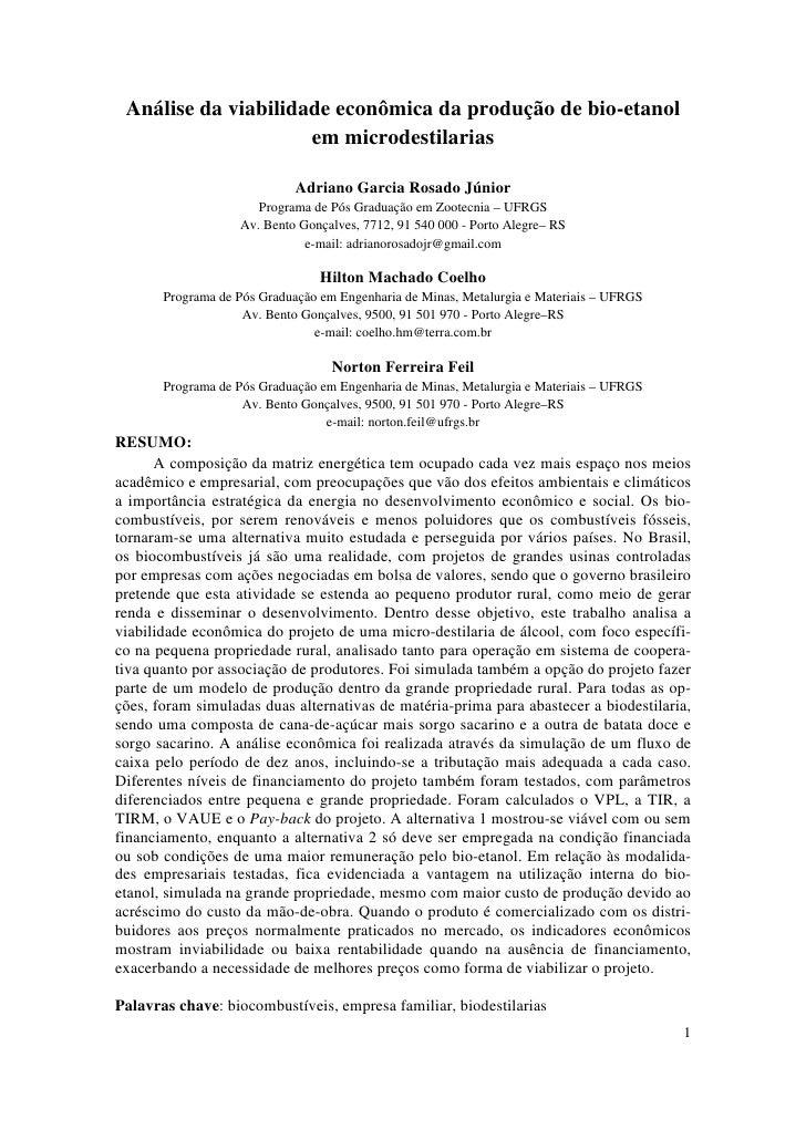 Análise da viabilidade econômica da produção de bio-etanol                      em microdestilarias                       ...