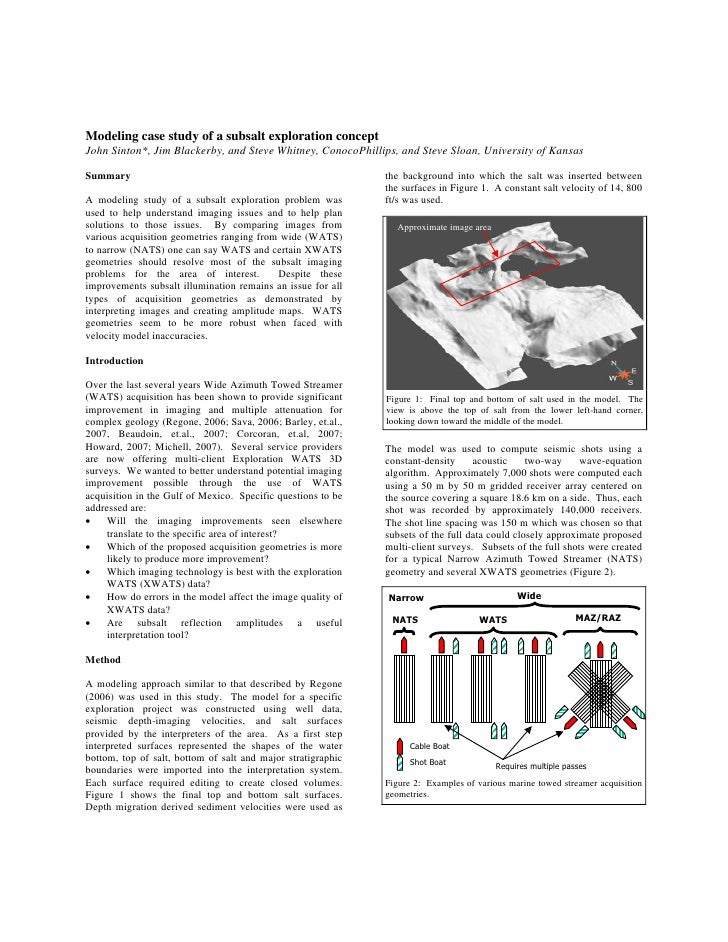 Modeling case study of a subsalt exploration concept John Sinton*, Jim Blackerby, and Steve Whitney, ConocoPhillips, and S...